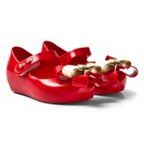 Mini Melissa Red and Gold Bow Shoes