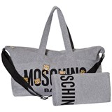 Moschino Grey Bear Print Changing Bag and Changing Mat