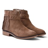 Mayoral Tan Leather Suede Fringed Boots