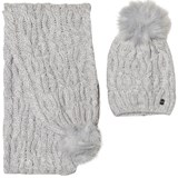 Mayoral Grey Chunky Knit Pom Pom Hat and Pom Pom Scarf Set