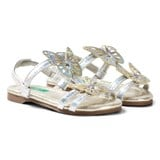 United Colors of Benetton Silver Butterfly Sandals with Ankle Strap
