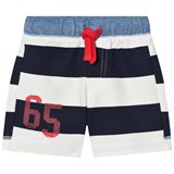 United Colors of Benetton Bold Stripe Navy and White Stripe Shorts With Tie Waist