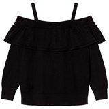 Little Remix Black Ruffle Cold-Shoulder Top