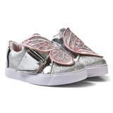 Sophia Webster Mini Pink and Silver Bibi Butterfly Velcro Trainers