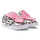 Sophia Webster Mini Black and White Bibi Leopard Leather Velcro Trainers