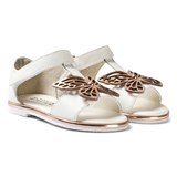 Sophia Webster Mini White and Gold Flutterby Sandals
