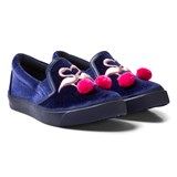 Sophia Webster Mini Navy Velvet Flamingo Pom Pom Slim On Trainers