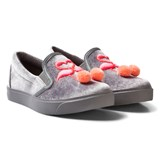 Sophia Webster Mini Grey and Pink Velvet Flamingo Pom Pom Slim On Trainers