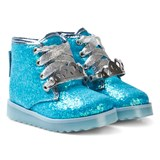 Sophia Webster Mini Blue Glitter Silver Crown Wiley Royaly Boot with Light-Up Soles