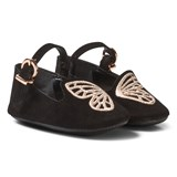 Sophia Webster Mini Black Bibi Butterfly Suede Crib Shoes