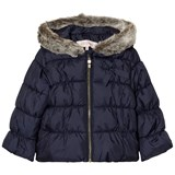 Lili Gaufrette Navy Hooded Puffer Coat with Faux Fur Hood