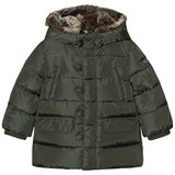 Il Gufo Green Down Puffer Coat with Faux Fur Hood