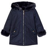 Lili Gaufrette Navy Faux Fur Lined Hooded Parka