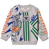 Kenzo Kids Grey Marl Paris Print and Embroidered Sweatshirt