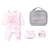 Kenzo Kids Pink Tiger Print Padded Babygrow and Booties In Gift Bag