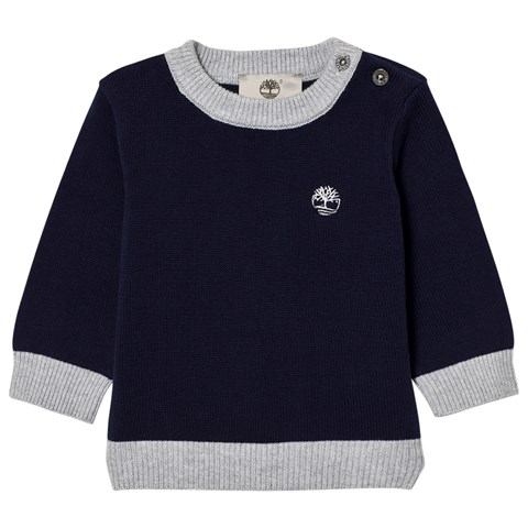 7cc778aaa310 Timberland Kids Navy Cotton Knit Branded Jumper