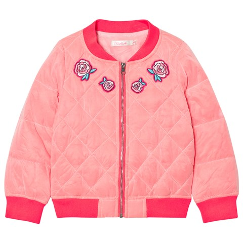 Billieblush Hot Pink Embroidred Rose Quilted Bomber Jacket ... eb67d063d0b5