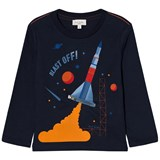 Paul Smith Junior Navy Rocket Print with Zip Flames Long Sleeve T-Shirt