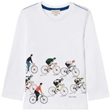 Paul Smith Junior White Cycle Tour Print Long Sleeve T-Shirt