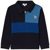 Paul Smith Junior Navy and Blue Zip Front Colour Block Polo