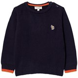 Paul Smith Junior Navy Knit Logo Jumper with Contrast Cuffs