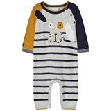 Catimini Grey and Mustard Stripe Dog Applique Knit Babygrow