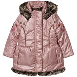 Catimini Pink Metallic Parka with Embroidered Sleeves and Faux Fur Lining