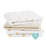 Aden + Anais Pack of 3 White and Gold Metallic Musys