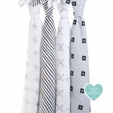 Aden + Anais Pack of 4 Grey and White Lovestruck Swaddles