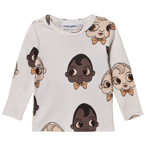 Mini Rodini White Babies Print Long Sleeve T-Shirt