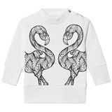 Karen Brost White Sweatshirt with Flamingo Print