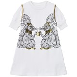 Karen Brost White T-Shirt Dress with Squirrel Print