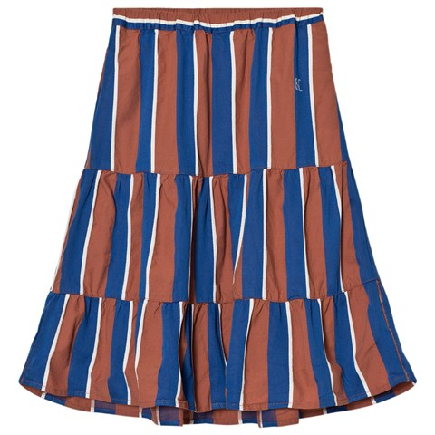 Bobo Choses Rust and Blue Awning Stripes Long Skirt