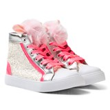 Billieblush Pink Glitter and Pom Pom High Top Trainer
