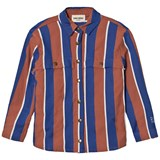 Bobo Choses Rust and Blue Awning Stripes Overshirt