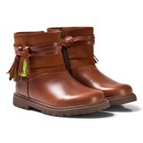Start-rite Brown Leather and Suede Tassle Ankle Boots