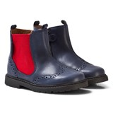 Start-rite Navy and Red Leather Digby Brogue Boots