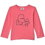 Karl Lagerfeld Kids Pink Karl and Choupette Print Long Sleeve Tee