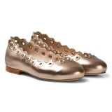 Chloé Gold Leather Scallop and Eyelet Detail Pumps