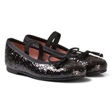 Pretty Ballerinas Black Glitter Ballerina Pumps