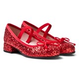 Pretty Ballerinas Red Glitter Block Heel Pumps