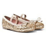 Pretty Ballerinas Gold Glitter Ballerina Pumps