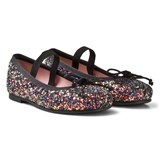 Pretty Ballerinas Black Iridescent Glitter Ballerina Pumps