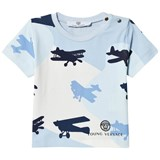 Young Versace Blue Plane Camo Print Branded Tee