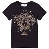 Young Versace Navy and Gold Stud Medusa Tee