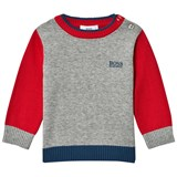 BOSS Red and Grey Knit Jumper