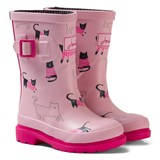 Joules Pink Cat Print Wellys