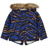 Kenzo Kids Blue Tiger Print Print Parka with Fleece Lining