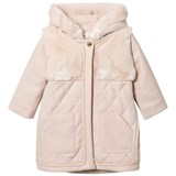Chloé Pink Wool Quited and Faux Fur Hooded Coat
