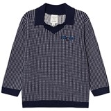 Carrément Beau Navy and White Knit Collared Jumper